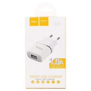 Сетевое зарядное устройство HOCO C11 1A USB (белое) — 4